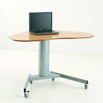 Conset 501-19 Heavy Duty Corner Sit-Stand Electric Desk Shown w/ optional caster kit