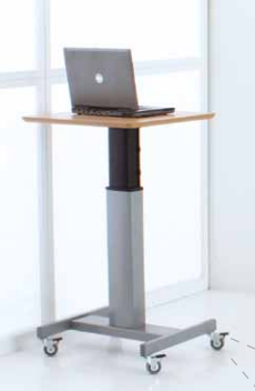 conset compact electric sit stand desk with battery pack and casters for mobility