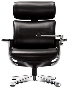 EuroTech Nuvem Leather Executive Chair With Black Leather And Polished  Aluminum Finish Front View ...