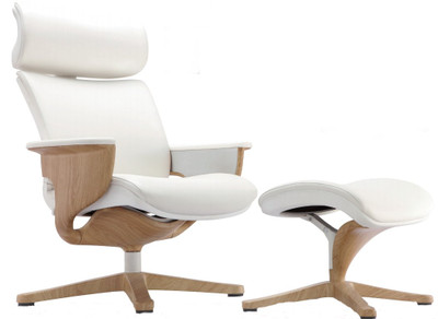 EuroTech Nuvem Leather Executive Chair With White Leather And Teak Wood  Finish Shown With Ottoman