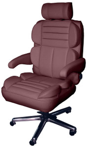 ERA Pacifica Big & Tall 24/7 Executive Chair in Burgundy leather with polished chrome base