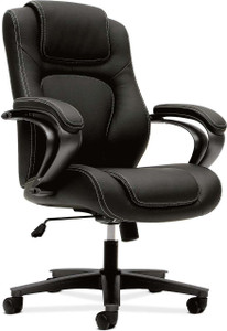 Bayx by Hon Vinyl Leather Executive High-Back in black vinyl