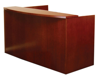 Mayline Mira Wood Veneer Reception Desk in Medium Cherry Shown w/ Standard Wood Top