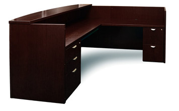 Mayline Mira Wood L Shape Veneer Reception Desk in Espresso finish on Walnut Veneer
