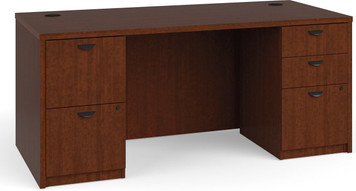 "Basyx by Hon BL Laminate 66"" x 30"" Desk with Two Pedestals in medium cherry finish"