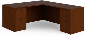 "Basyx by Hon BL Laminate 66"" x 78"" L-Station with Two Pedestals in medium cherry finish"