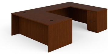 "Basyx by Hon BL Laminate 72"" x 108"" U-Station in medium cherry finish"