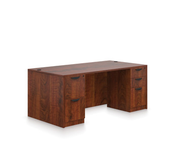 "Offices To Go SL-Q 71"" Double Pedestal Desk in American Dark Cherry"