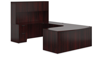 Offices To Go SL-D Bow Front Curved U Desk Suite in American Mahogany
