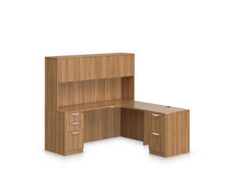 Offices To Go SL-L Curved L Desk Station in Autumn Walnut AWL