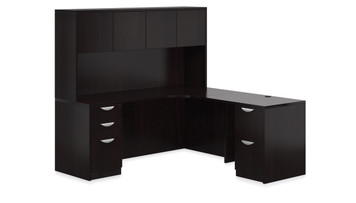 Offices To Go SL-L Curved L Desk Station in American Espresso AEL