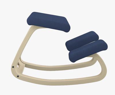 Varier balans Kneeling Chair Natural Ash Frame Revive Blue fabric
