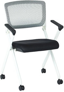 Nesting Chair with Breathable Mesh Back and Fabric Seat