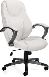 Offices To Go Luxhide Executive Chair with Charcoal Grey Frame in White Luxhide