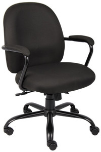 Heavy Duty Task Chair in Black Crepe Fabric