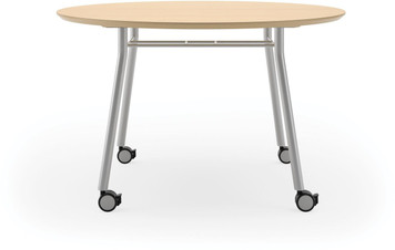 "Lesro 48"" Round High Pressure Laminate Conference Table with Casters in Natural high pressure laminate and silver legs"