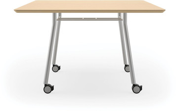"Lesro 48"" Square High Pressure Laminate Conference Table with Casters in Natural high pressure laminate finish and silver legs"
