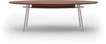 "Lesro 84"" Elliptical High Pressure Laminate Conference Table in Mahogany High Pressure Laminate Top, under table shelf and silver legs"