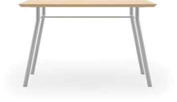 "Lesro 48"" Rectangular High Pressure Laminate Conference Table in Natural High Pressure Laminate Finish and silver legs"