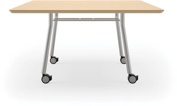 "Lesro 48"" Rectangular High Pressure Laminate Conference Table with Casters in Natural High Pressure Laminate Finish and silver legs"