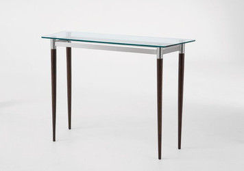 Siena Glass Top Sofa Table with Mahogany Finish Wooden Legs