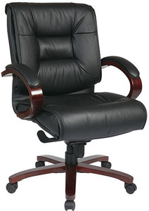 Deluxe Mid Back Leather Executive Chair with Mahogany Finished Base