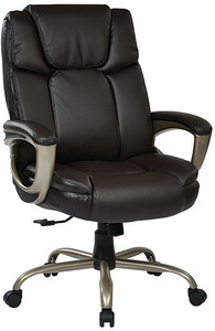Espresso Leather Executive Big Mans Chair with Padded Loop Arms