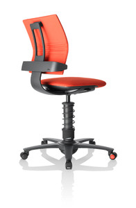 3 Dee Ergonomic Chair in Red fabric and black frame