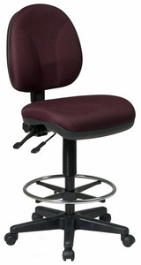 Deluxe Ergonomic Drafting Stool with Fabric Seat and Back in Burgundy Fabric