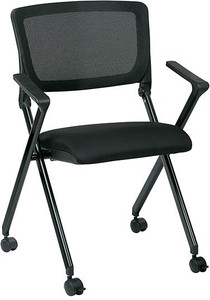 Breathable Mesh Back and Fabric Seat Nesting Chair in Black Fabric Seat and Black Finished Frame