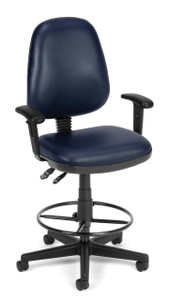 OFM Anti-Microbial Vinyl Posture Stool in Navy w/ Optional Arms