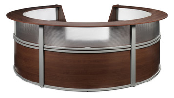 Marque PLexi Polygon Unit Reception Station in Cherry Approach Side