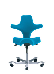 HAG Capisco H8106 Saddle Seat w/ Back in Blue Seat Silver Base
