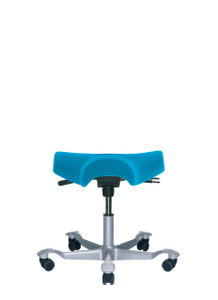 HAG Capisco 8105 Saddle Seat Stool  in Silver Foot-base Blue Textile