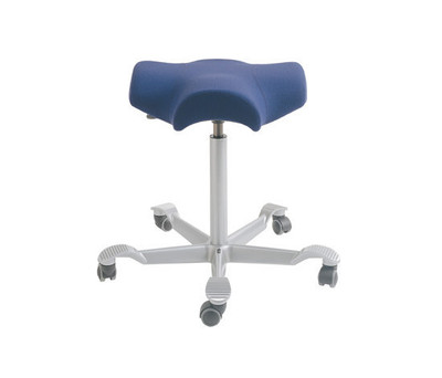 hag capisco saddle seat stool in silver footbase purple textile