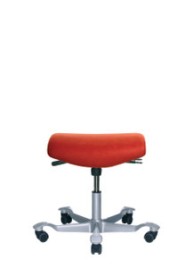 HAG Capisco H8125 Flat Seat Stool in Red w/ Silver Foot-base