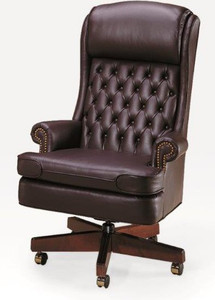 Bedford Traditional Tufted Back XL Swivel in Classico & Traditional Leather Office Chairs | Classic Desk Chairs