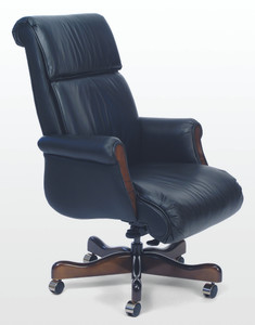 Belmont Traditional Leather Swivel with Wood Accents in Rio Leather, Bright Navy