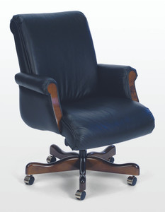 Belmont Traditional Mid Back Conference with Wood Accents in Classico Bright Navy