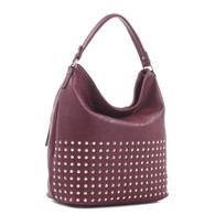 Concealed Carry Studded Hobo - Burgendy