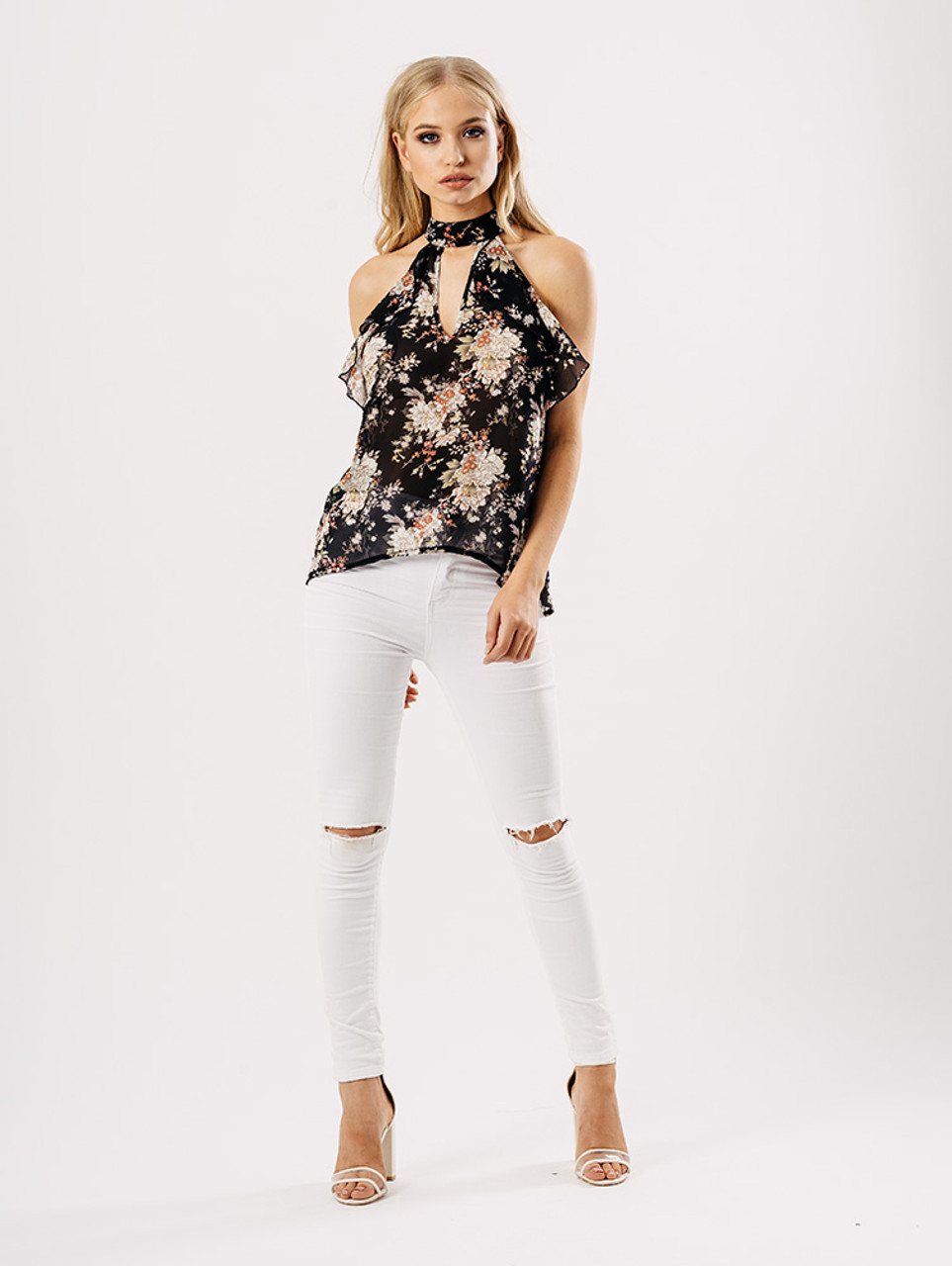 Floral Sheer Cold Shoulder Choker Top