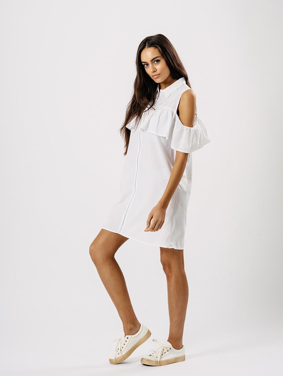 White Cold Shoulder Frill Detail Dress