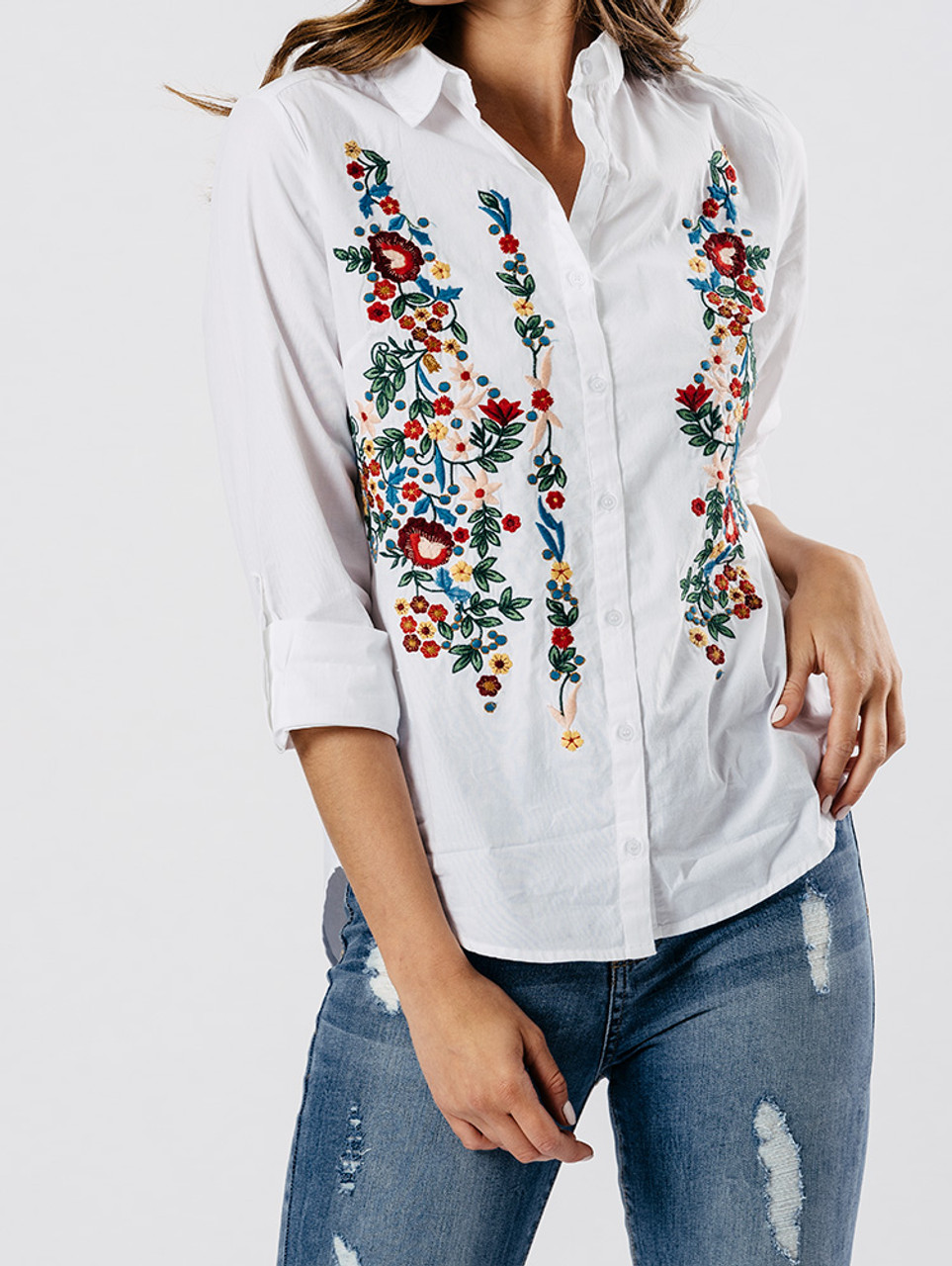 White Embroidered Cotton Shirt