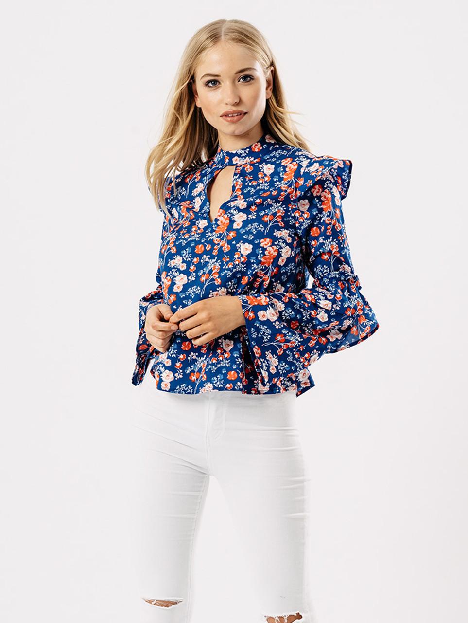 Blue Floral Print Frill Top