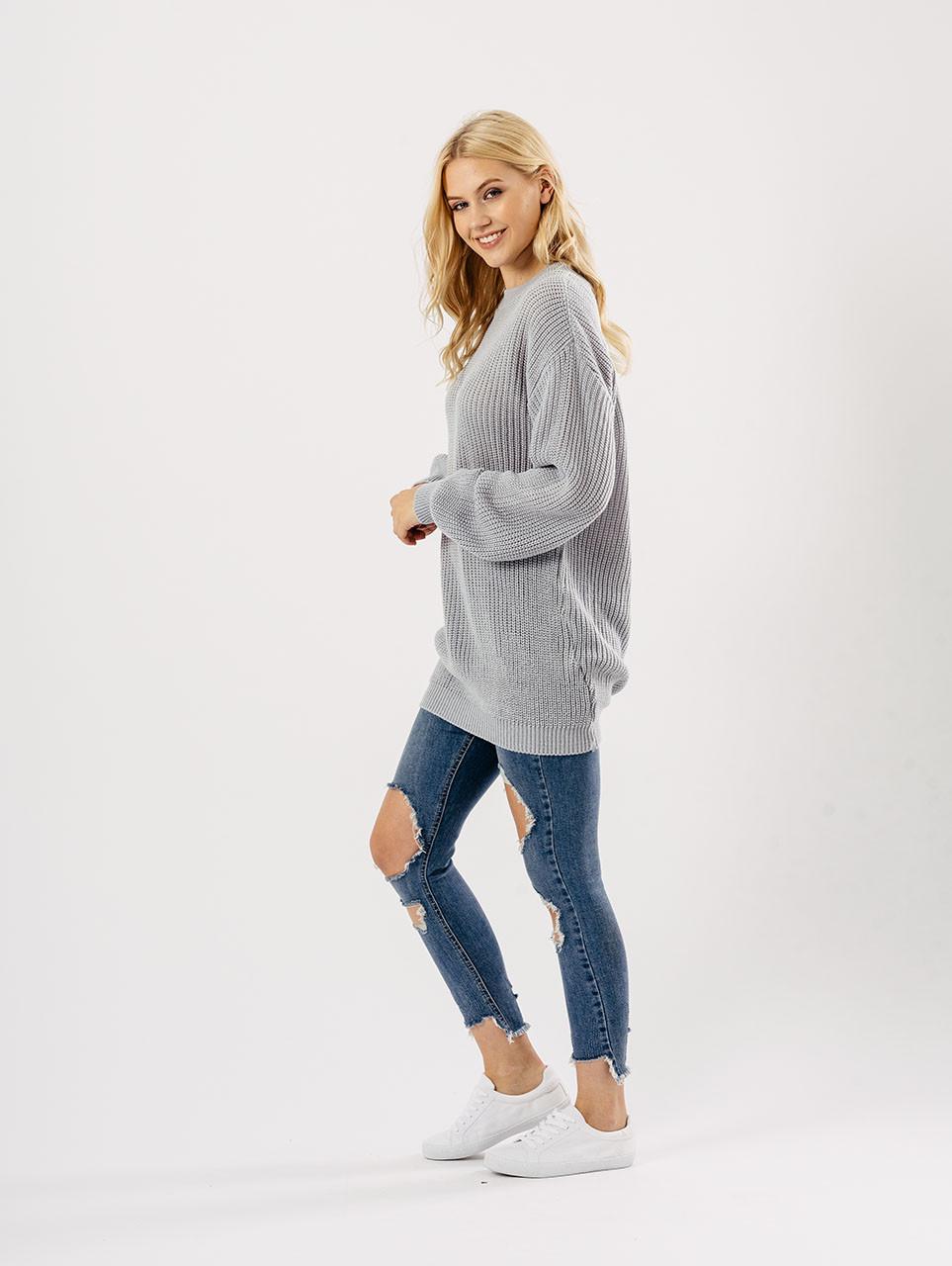 Grey Oversized Knitted Jumper Dresses