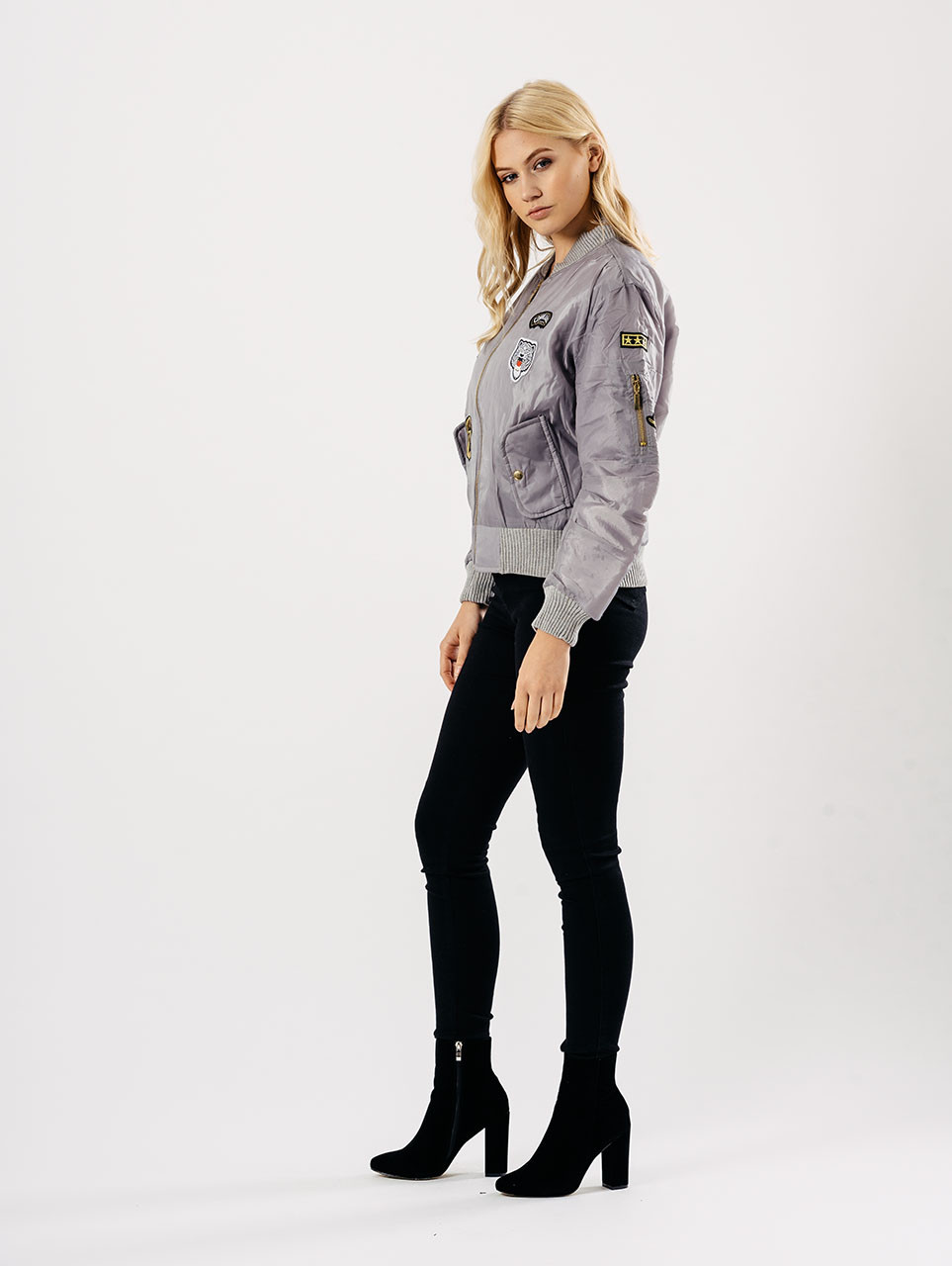 Grey Badges Bomber Jacket