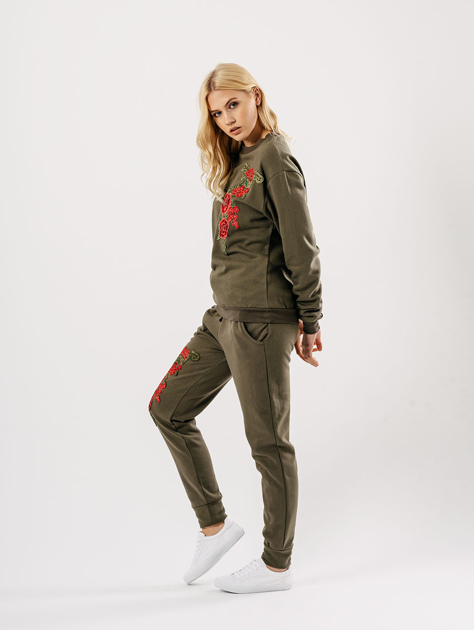 Khaki Embroidered Lounge Wear Suit Sets