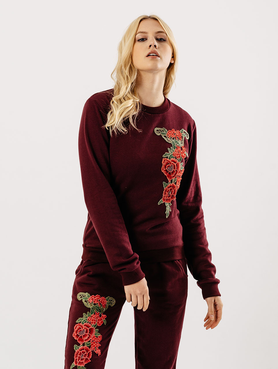 Wine Embroidered Lounge Wear Suit Sets