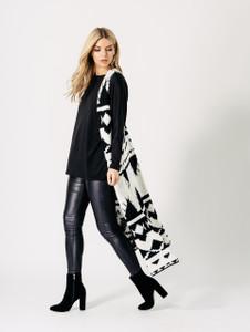 Black and White Monochrome Aztec Stitched Blanket Sleeveless Cardigan