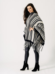 Black and White Mono Aztec Stripe Contrast Fringed Blanket Cape